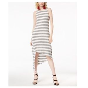 Bar III Asymmetrical Hem Grey Striped Tank Dress